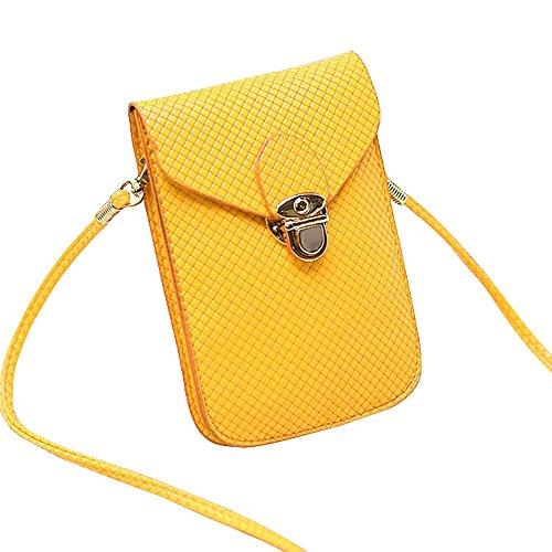 Hrph Frauen Mini Handy Tasche PU Leder Plaid Geldbörse Messenger Umhängetasche #1