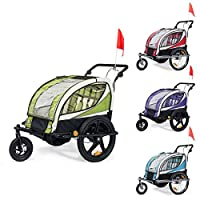 SAMAX Children Bike Trailer 2in1 Kids Jogger Stroller with Suspension 360° rotatable Childs Bicycle Trailer Transport Buggy Carrier for 2 Kids in Red - Silver Frame