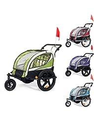 SAMAX Remorque Vélo convertible Jogger 2en1 360° rotatif Pour 2 Enfants Amortisseur Transport Poussette - en différentes couleurs
