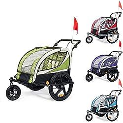 SAMAX Remorque Vélo convertible Jogger 2en1 360° rotatif Pour 2 Enfants Amortisseur Transport Poussette en Pourpre - Black Frame