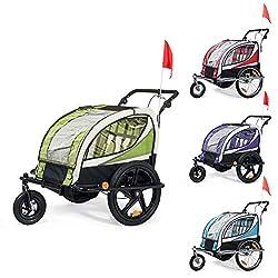 SAMAX Fahrradanhänger Jogger 2in1 360° drehbar Kinderanhänger Kinderfahrradanhänger Transportwagen vollgefederte Hinterachse für 2 Kinder in Grün - Black Frame