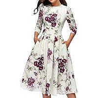 Vestidos Largos Mujer, JiaMeng Vestido Vintage Floral Elegante Vestido de Noche Midi 3/4 Mangas Casual Sudadera Slim Fit Mini Vestidos