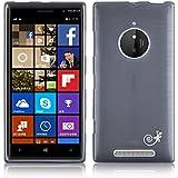 JAMMYLIZARD | Back Cover Hülle für Nokia Lumia 830 Schutzhülle aus Silikon in Gebürstetes Aluminium Optik, SCHWARZ