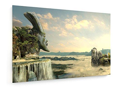 Der Mönch - 90x60 cm - Textil-Leinwandbild auf Keilrahmen - Wand-Bild - Kunst, Gemälde, Foto, Bild auf Leinwand - Landschaft