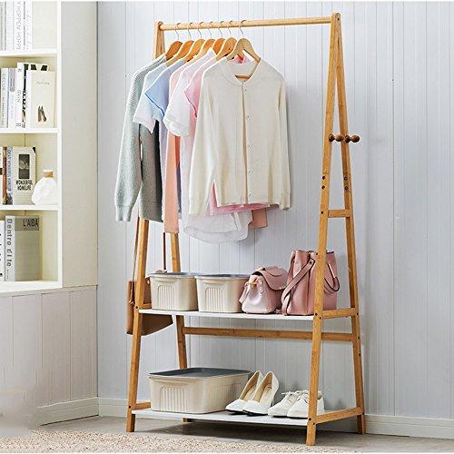 Garderobe Feifei Kleiderbügel Coat Rack Multifunktions-Standfuß aus massivem 2-lagigem Lagerregal stabil und langlebig (größe : 90 * 46 * 159CM) (Coat Halle Rack)