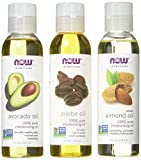 Now Foods Variety Moisturizing Oils Sampler: Sweet Almond, Avocado, and Jojoba Oils - 4oz. Bottles each by Now Foods