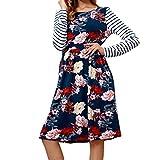 Xmiral Women Fashion Long Sleeve Print Striped O-Neck...