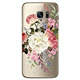 RXKEJI Samsung Galaxy S7 Hülle, Handyhülle TPU Silikon Weiche Clear Ultra Dünn Schlank Durchsichtige Schutzhülle Transparent Flexibel Case Handy Hülle für Samsung Galaxy S7 - White Red Flower