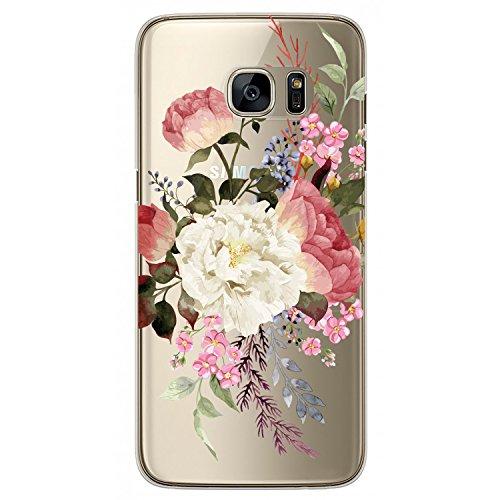 RXKEJI Samsung Galaxy S7 Hülle, Handyhülle TPU Silikon Weiche Clear Ultra Dünn Schlank Durchsichtige Schutzhülle Transparent Flexibel Case Handy Hülle für Samsung Galaxy S7 - White Red Flower