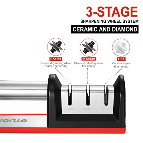 Afilador de cuchillo de Dorlle  Asoladora de 3 etapas de reparación más eficiente  sistema de afilado de rueda de diamante y rueda de cerámica