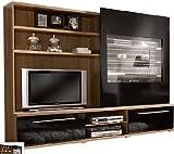 TV-Wohnwand Wohnwand walnuss - hochglanz-schwarz - (710)