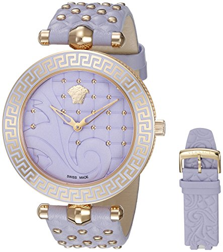 Versace Reloj Analógico para Mujer de Cuarzo con Correa en Cuero VK7220015