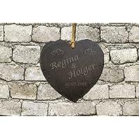 Schiefertafel Herzform 14cm graviert mit Wunschtext Schieferplatte Klingelschild Türschild