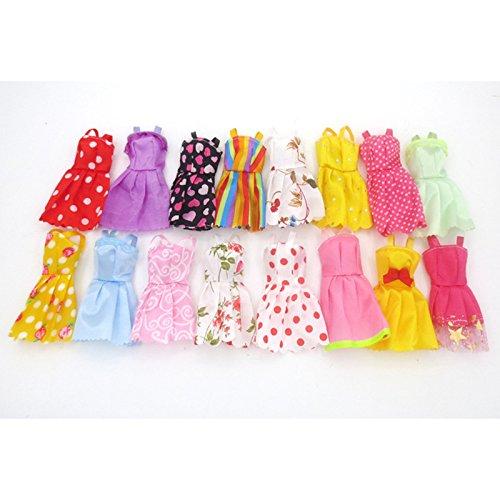 OUYAWEI Fashion Party Kleid Prinzessin Kleid Kleidung Outfit für 11in Barbie Puppe (Stil zufällig) Kurzes Kleid 5 Kleider/Tasche