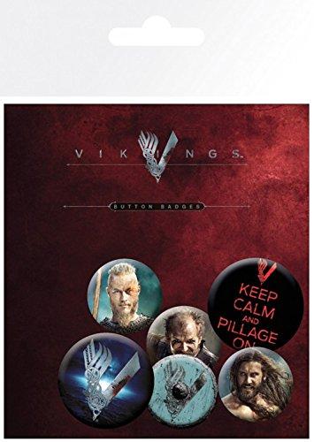 Vikingos - Mix, 4 X 25mm & 2 X 32mm Chapas Set De Chapas (15 x 10cm)