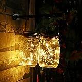 Unim Solar Mason Jar Lichterkette (Mason Jar & Griff, die)–10LED-Lichter zum Aufhängen Jar, wasserdicht & Pfad Licht Garten Outdoor Solar Laterne & Tisch Laterne