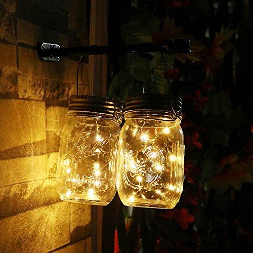 UniM Guirlande lumineuse solaire en bocal (bocal et poignée inclus), guirlande d'extérieur à 10 lampes LED dans un bocal étanche à suspendre, pour un jardin ou à mettre sur une table. 2-Pack blanc chaud