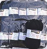 500g Wollpaket Schachenmayr Baby Smiles Bravo Baby 135, Farbe 01099, 10x50 g Schwarze Wolle zum Stricken Nadelstärke 4, Wollpakete Sonderposten
