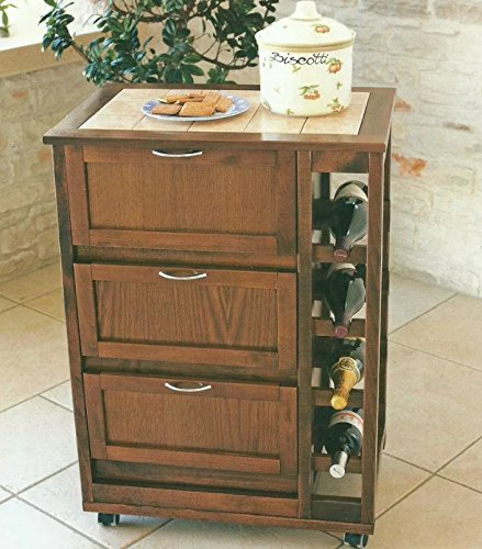 Carrello mobiletto a ribalta con ruote porta tv cassettiera noce - Mobiletto cucina amazon ...