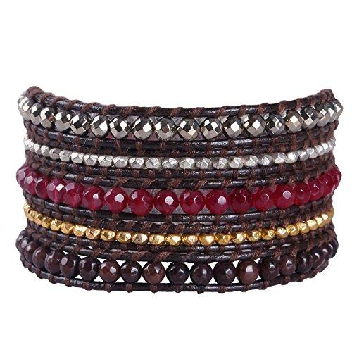 KELITCH Rot Jade Granat Achat und Hämatit Metall Partikel Perlen Wickelarmband Damen Lederarmband (Jade Rot)