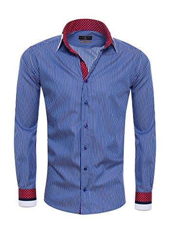 Punkt-kragen-gestreifte Krawatte (Giorgio Capone Herrenhemd, 100% Baumwolle, blau-weiß gestreift, Doppelkragen, Langarm, Slim & Regular Fit (XXL Reg mit Brusttasche))