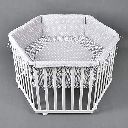 HONEY BEE Laufgitter Laufstall 6-eckig, Baby Krabbelgitter inkl. Stoffeinlage WEISS 52305 (Weiß Baby-möbel)