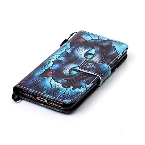 Ledowp Apple iPhone 8portafoglio in pelle, protezione integrale modello colorato design custodia in pelle custodia a portafoglio in pelle con slot per schede per iPhone 8 multicolore Wolf #1 Wolf #2