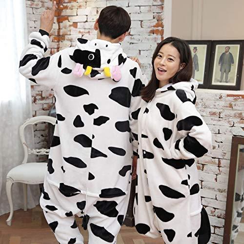 JYLW Damen Schlafanzug Frauen Einhorn Pyjamas Sets Frauen Niedlichen Tier Pyjamas Anzüge Unicorn Ganze Onesies Cosplay Kostüm Einteilige Pyjamas Kits, Kuh, ()