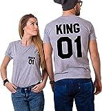 King Queen Couple Shirts Tee Shirt pour Roi Reine 100% Coton Tshirt pour Amoureux Imprimé 01 Tops à Manches Courtes Cadeau Anniversaire de Mariage 2 Pièces(Grey