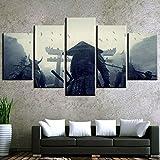 Modern Kunstdrucke 5 Stücke Wand Leinwand Gedruckt Kunst Poster Wohnaccessoires Geschenke 5 Stück Hd Druck Große Sunset Samurai Schwert Kendo-200x 100 cm
