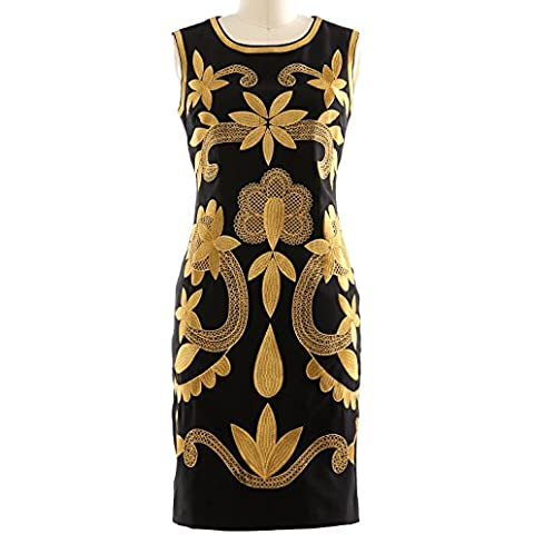 MACloth Women Retro Gold Embroidery Midi OL Cocktail Party Summer Pencil Dress