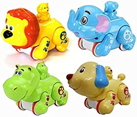 Vibgyor Vibes Colourful Press and Go Friction Animal Toys (Pack of 2) Best for Return Gifts