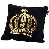 GLÖÖCKLER by KBT Bettwaren 4001626021628 Zierkissen gefüllt schwarz mit goldener Pailletten Krone, 50 x 50 cm Samt