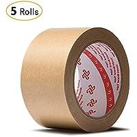 Jia Hu - Cinta adhesiva de papel kraft (5 rollos), diseño de parte trasera plana, para caja de cartón 50 mm
