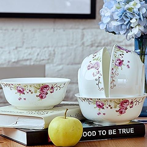 Instant Bol à nouilles Bol en céramique Creative Lot de bols en porcelaine anglaise Taille 4