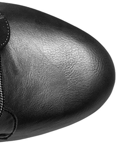 Pleaser Delight-1020, Bottes Classics courtes, non doublées femme Noir - Schwarz (Schwarz (Blk Faux Leather/Blk Matte))