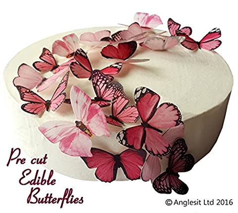 24 X PRE-CUT BEAUTIFUL MEDIUM PINK BUTTERFLIES EDIBLE RICE / WAFER PAPER PRE CUT CUPCAKE CAKE DESSERT TOPPERS BIRTHDAY PARTY WEDDING BABY SHOWER DECORATIONS (Medium)