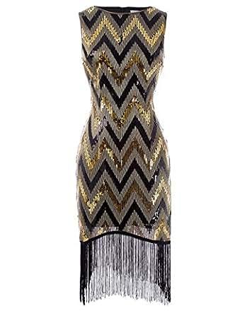 belle poque 20er jahre kleid gold gastby kleid fransen. Black Bedroom Furniture Sets. Home Design Ideas