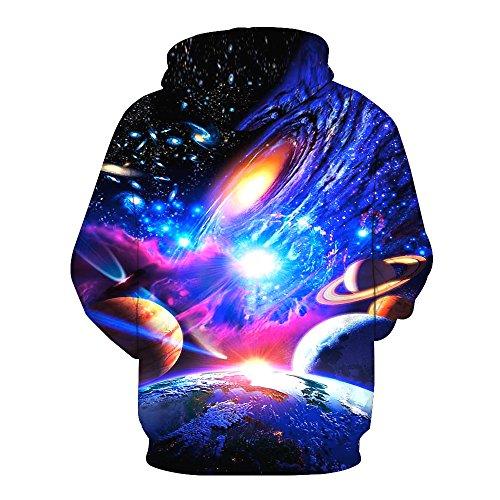 Bluepistil Herren Galaxis 3D Druck Hoodie Sweatshirts Weihnachten Pullover mit Aufdruck Herbst Kapuzenpullover Langarm Blau