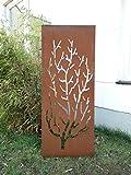 Garten Sichtschutz aus Metall Rost Gartenzaun Gartendeko edelrost Sichtschutzwand 031480-6 125*50*2CM