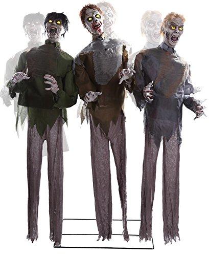 CTC 3 lebensgroße Zombies Untoten Dreier Leuchtaugen Sound Bewegung Animatronic für Halloween