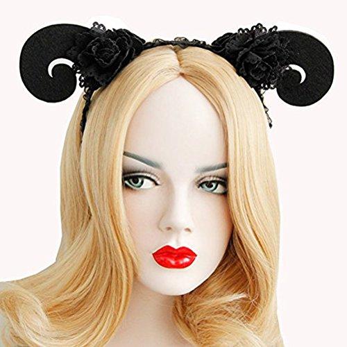 Dance Hoop Kostüm - frcolor Animal Hair Hood Headband Sheep Horn Headpiece FOR Halloween Cosplay Kostüm Party (Black)