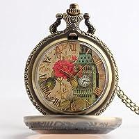 lekima reloj de bolsillo Gousset collar colgante Elégant Londres Big Ben rosa–Número Romanos cuarzo aleación Fantasía mujer regalo de Lekima