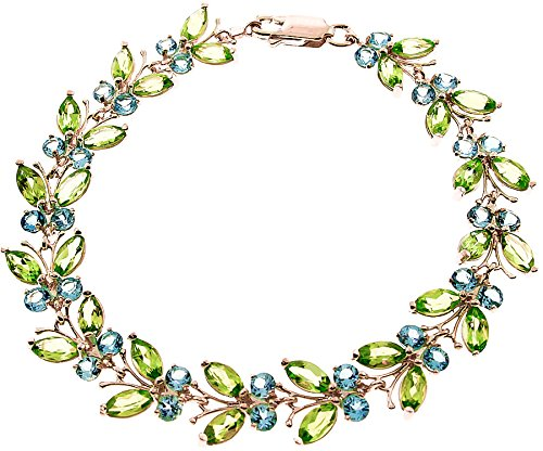 QP joailliers Topaze Bleu naturel & Peridot Bracelet en or rose 9carats, 16,50CT-2623r