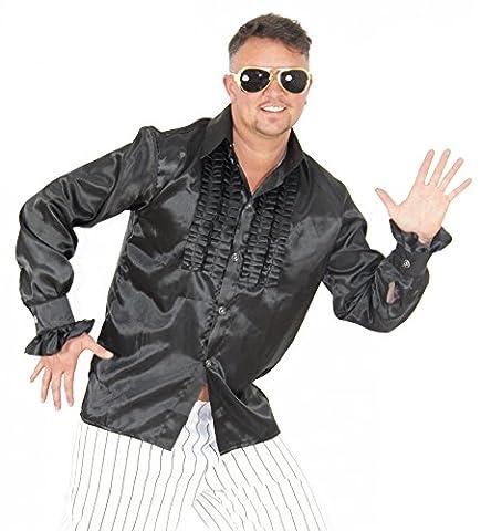 Foxxeo 40189 | Rüschenhemd schwarz für Herren schwarzes Hippie Hemd