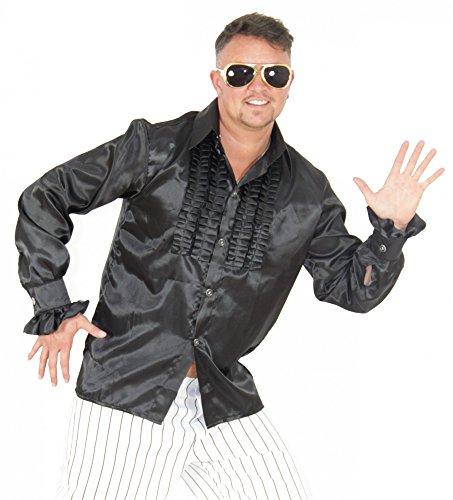 Foxxeo 40189 | Rüschenhemd schwarz für Herren schwarzes Hippie Hemd 70er 80er Retro Kostüm Gr. S-XXL, Größe:L