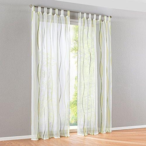 HongYa 1er-Pack Voile Gardine Transparenter Vorhang mit Schlaufen Wellen Druck H/B 225/140 cm Creme Grün