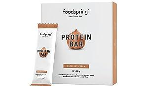 foodspring Protein Bar pacchetto da12, Crema di nocciole, Nuova ricetta ancora più buona, Prodotto in Germania