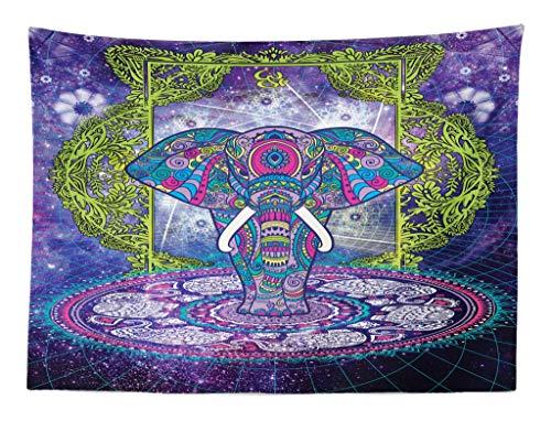 ABAKUHAUS Étnico Tapiz de Pared y Cubrecama Suave, Figura Sagrada Elefante de Pie Mandala sobre Espacio Exterior Cosmos Diseño Hippie, Objeto Decorativo Lavable, 150 x 110 cm, Púrpura