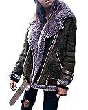 Minetom Damen Mode Warm Casual Streetwear Winter Wildleder Wolle Motorradjacke Mantel Fleece Outwear Jacke Parka Mit Taschen Dunkelgrün DE 34